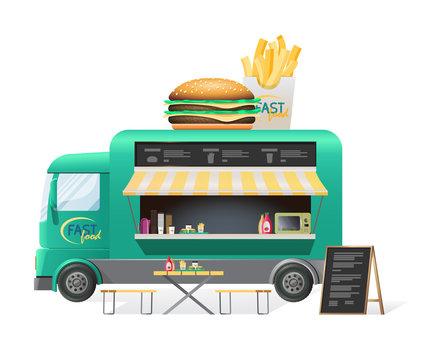Street van, shop truck counter on wheels, sale of hamburgers.
