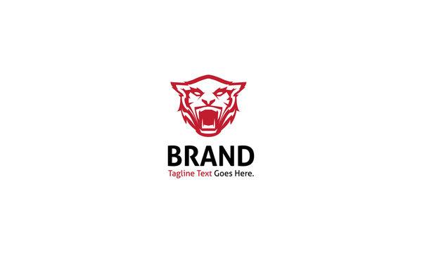 Tiger Strangth animal red vector logo image