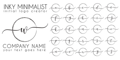 Minimalistic inky initial logo letter template