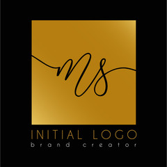 elegant initial Ms m s letter logo template