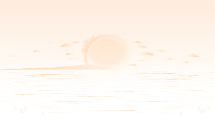 Yellow LAI THAI background Sunset with sea and mountains Vector