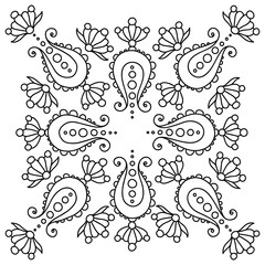 black and white handdrawn mandala with paisley