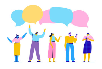 Group of young people having conversation. Disscussion, chatting.  Flat vector illustration.