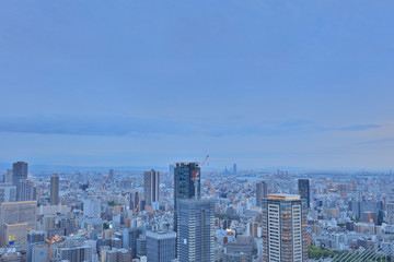 downtown aerial view skyline at twilight Japan