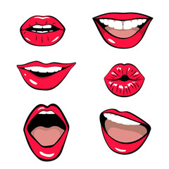 Lips patch collection isolated on white background. Vector illustration of sexy woman's lips expressing different emotions.