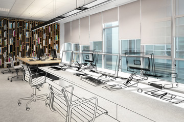 Computer Workplace Inside a Business Center (vision) - 3d visualization