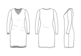 Blank clothing templates of women long sleeve v-neck dress in front, side, back views. Vector illustration isolated on white background. Technical fashion drawing set.