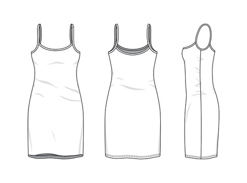 Blank clothing templates of women strapless slim dress in front, side, back views. Vector illustration isolated on white background. Technical fashion drawing set.