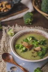 Homemade broccoli soup, fresh vegetable in and crispy croutons