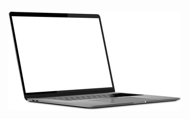Laptop vector mockup tempate blank screen isolated all in focus