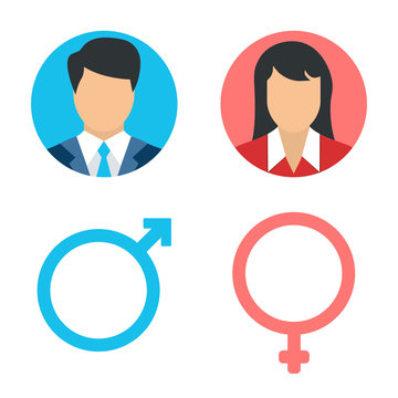 Vector male and female icon set. User avatar. Man and lady toilet sign. Sex symbol. Gender icon. Boy and girl pictogram.