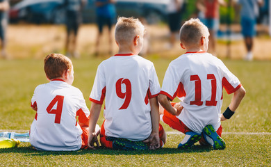 48f2c00f122 Children Sports Team Wearing White Soccer Jersey Shirts. Young Boys ...