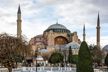 Istanbul, Turkey. Hagia Sophia Cathedral, Byzantine architecture of the Hagia Sophia, famous landmark.