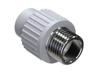 Connector with threaded insert for polypropylene pipes. Image for advertising plumbing fittings. 3D rendering.