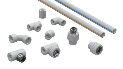 Set of polypropylene pipes and connectors. Image for advertising plumbing fittings. 3D rendering.