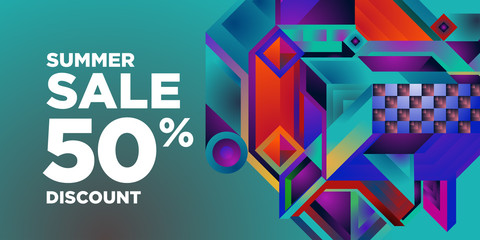 Summer Sale 50% Discount Banner with Colorful Abstract Geometric Background Pattern