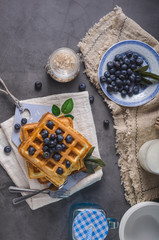 Crispy homemade waffles with berries