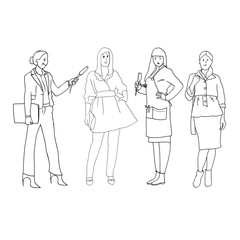Set of black and white line drawings in the vector, female figures, women's profession