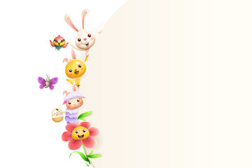 Easter friends animals and flower on left side of board - isolated on white background