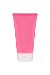 pink tube packaging cosmetic beauty cream with white cap isolated mockup background