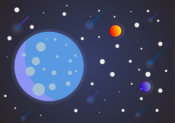 Full moon in space with stars, styling simplify space exploration illustration background. Space and planet background. Planets surface with craters, stars and comets in dark space.