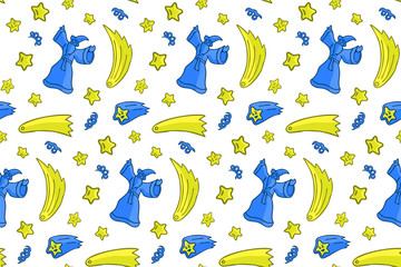 Fantasy seamless pattern with wizard and stars