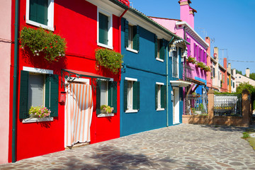 A colorful courtyard of the Burano island. Venice, Italy