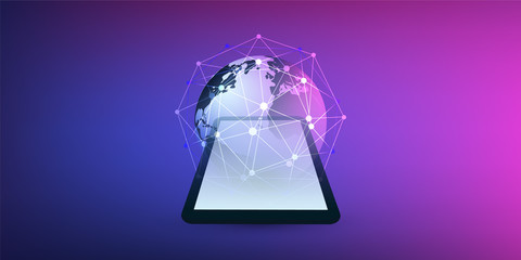 Cloud Computing Design Concept with Earth Globe and Tablet PC - Digital Network Connections, Technology Background, Vector Design