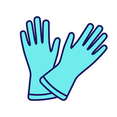 Household gloves color icon