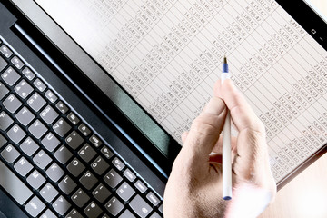 Hand with pen pointing at spreadsheet displayed on a laptop