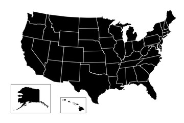 USA, Map of United States Of America with name of states, American map