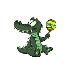 little funny cartoon crocodile with candy