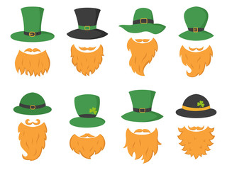 Set of different piece photo booth props with Irish leprechaun (hat and beard).
