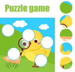 Puzzle for toddlers. Children educational game. Match pieces and complete the picture. Activity for pre school years kids. Easter theme