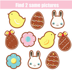 Children educational game. Find two same pictures. Easter cookies