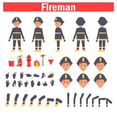 Fireman for animation. Poses front, rear, side, three quarter. Creation set. Collection of emotions. Vector. Cartoon. Isolated art on white background. Flat Different positions of hands