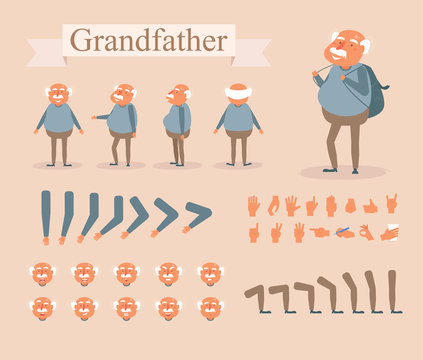 Grandfather for animation. Poses front, rear, side, three quarter. Creation set. Collection of emotions. Vector. Cartoon. Isolated art on white background. Flat Different positions of hand