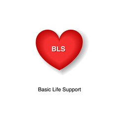 BLS Basic Life Support logo Symbol vector illustration heart icon with a sign