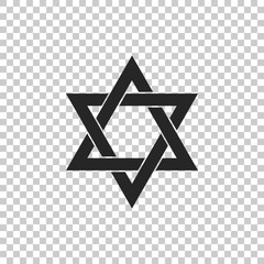 Star of David icon isolated on transparent background. Flat design. Vector Illustration