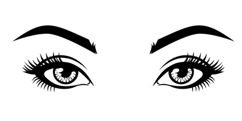 Abstract fashion illustration of the natural eyebrows and eyelashes. Vector idea for business visit cards, templates, web, salon banners, brochures. .