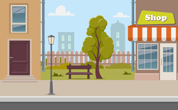 Cute cartoon town street with a shop, tree, bench, fence, street lamp. City street background vector illustration.