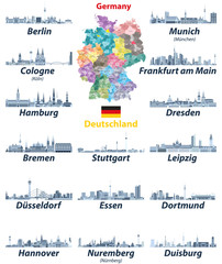 Fototapete - vector set of Germany largest cities skylines icons in tints of blue color palette. Map and flag of Germany