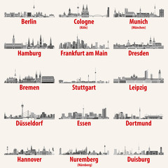 Fototapete - Germany cities skylines icons in black and white color palette vector set