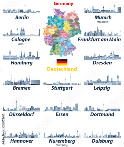 Fototapete vector set of Germany largest cities skylines icons in tints of blue color palette. Map and flag of Germany