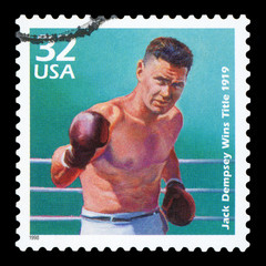 UNITED STATES OF AMERICA - CIRCA 1998: a postage stamp printed in USA showing an image of boxer Jack Dempsey, circa 1998.