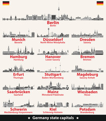 Fototapete - Germany state capitals black and white vector detailed skylines.