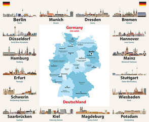 Fototapete - Germany map with state capitals cities skylines vector illustration. All layers are labelled, editable and well organized