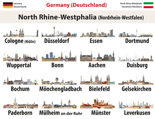 Fototapete - vector set of Germany state North Rhine- Westphalia largest cities skylines icons