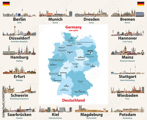 Germany map with state capitals cities skylines vector illustration ...