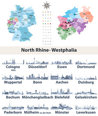 Fototapete - vector map of Germany with state Norrth Rhine-Westphalia map separately with largest cities skylines icons in tints of blue color palette